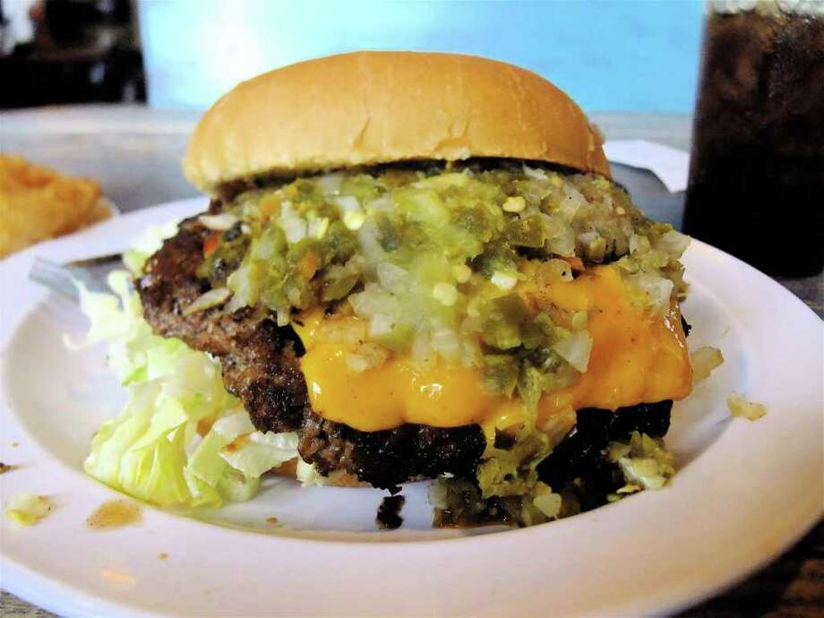 Outlaw Burger at Stomp's in Bacliff. Photo: Alison Cook