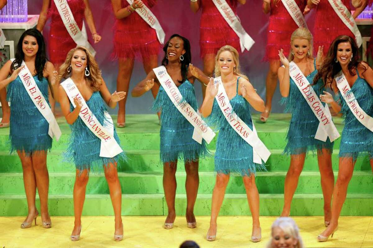 Miss Collegiate San Antonio Selina Affram (center) performs during the opening production during the first night of the Miss Texas Pageant preliminary competition.