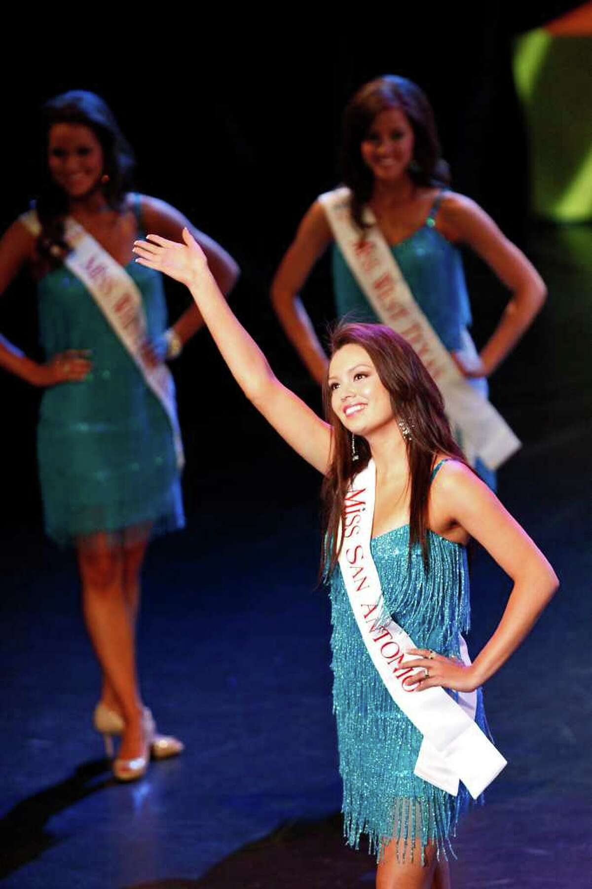 Miss San Antonio Domonique Ramirez is introduced during the first night of the Miss Texas Pageant preliminary competition at Texas Hall on the campus of the University of Texas at Arlington on June 28, 2011.