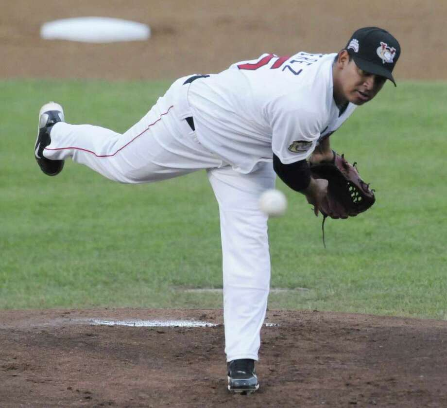 ValleyCats Juri Perez pitches against Connecticut during their game at Joseph L. Bruno Stadium in Troy, NY Tuesday June 28, 2011. ( Michael P. Farrell/Times Union ) Photo: Michael P. Farrell