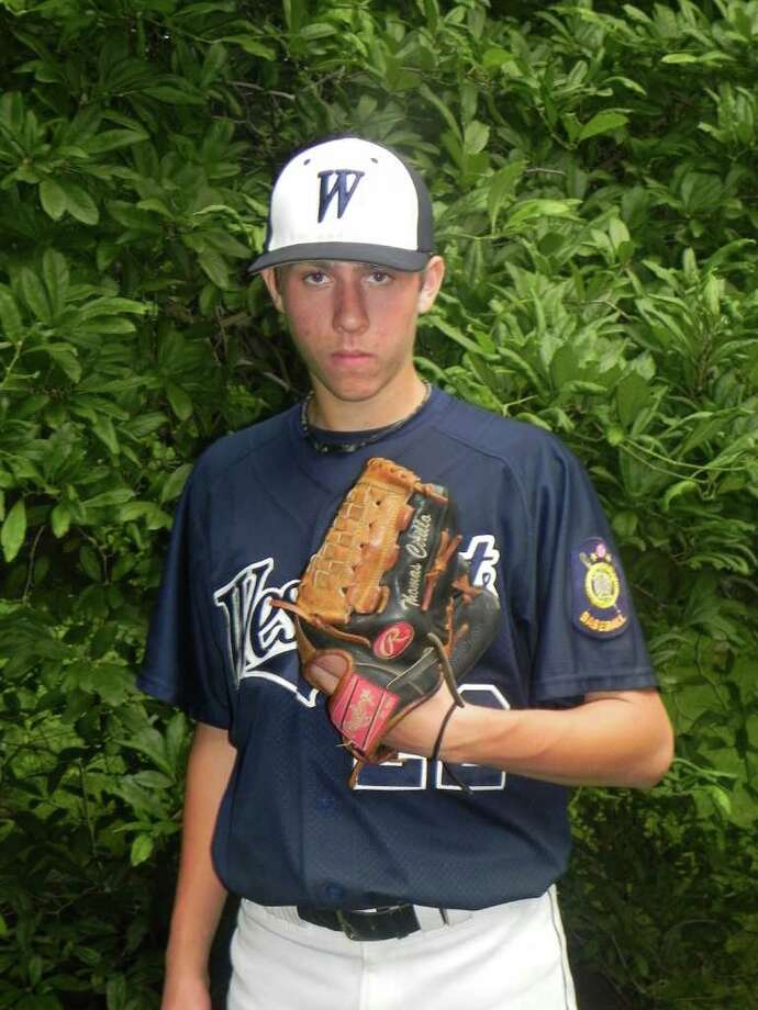 Westport Senior Legion right-hander Thomas Cirillo pitched a complete game in a 6-2 loss at Wilton Tuesday. Although Wilton scored six runs, Cirillo was solid on the mound and three of the runs were unearned. Photo: Contributed Photo