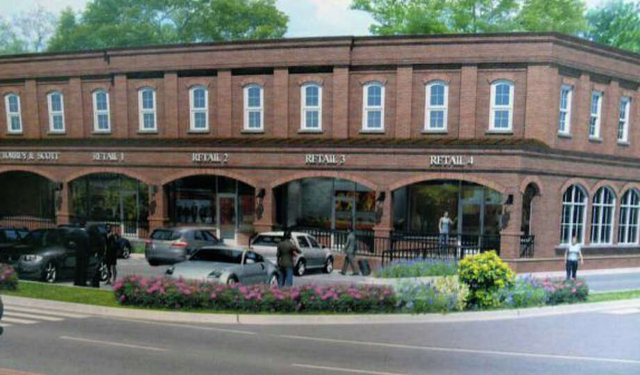 An artist's rendering of a brick retail/commercial buidling proposed at the corner of Post and Sasco Hill roads that was rejected Tuesday by the Town Plan and Zoning Commission. Photo: Contributed Photo / Fairfield Citizen contributed