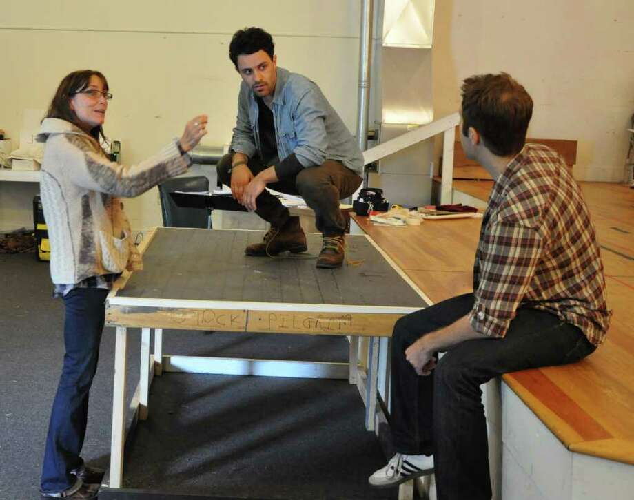 Karen Allen, Aaron Costa Ganis and Matt R. Harrington in rehearsal for Moonchildren at the Berkshire Theatre Festival. Photo by Jaime Davidson
