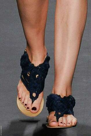 Crocheted sandals from Vivienne Tam add a DIY appeal to summer's flats. Photo: OLIVIER CLAISSE