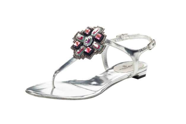"REFLECTIVE: Chanel's ""stoned"" jewel thong sandal, $925, Neiman Marcus. credit: Neiman Marcus Photo: David Lyles / DirectToArchive"