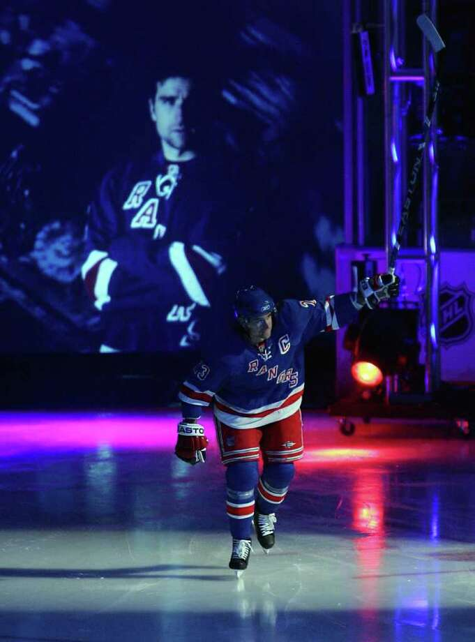 NEW YORK - OCTOBER 10: Chris Drury #23 of the New York Rangers is introduced before playing against the Chicago Blackhawks on October 10, 2008 at Madison Square Garden in New York City. The Rangers defeated the Blackhawks 4-2. (Photo by Jim McIsaac/Getty Images) Photo: Jim McIsaac, Getty Images / 2008 Getty Images