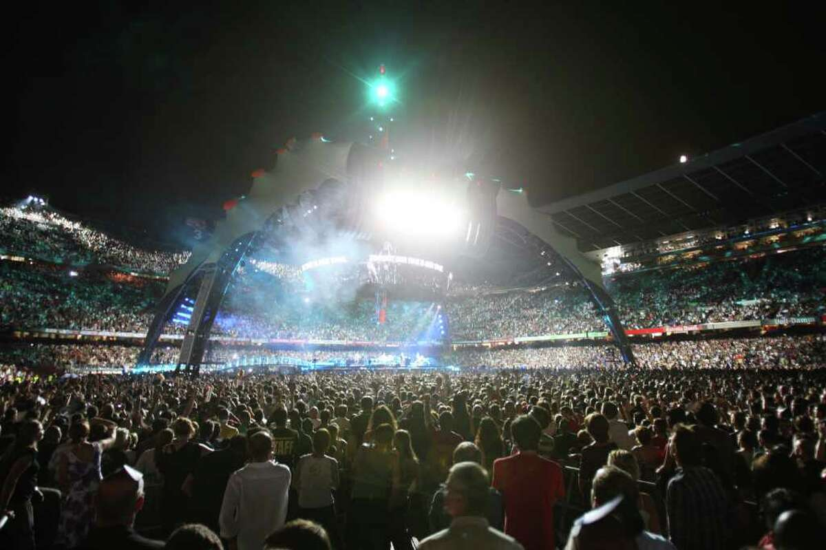 A view of the stage as U2 performs during the first concert of the 360° tour in Barcelona on June 30, 2009.