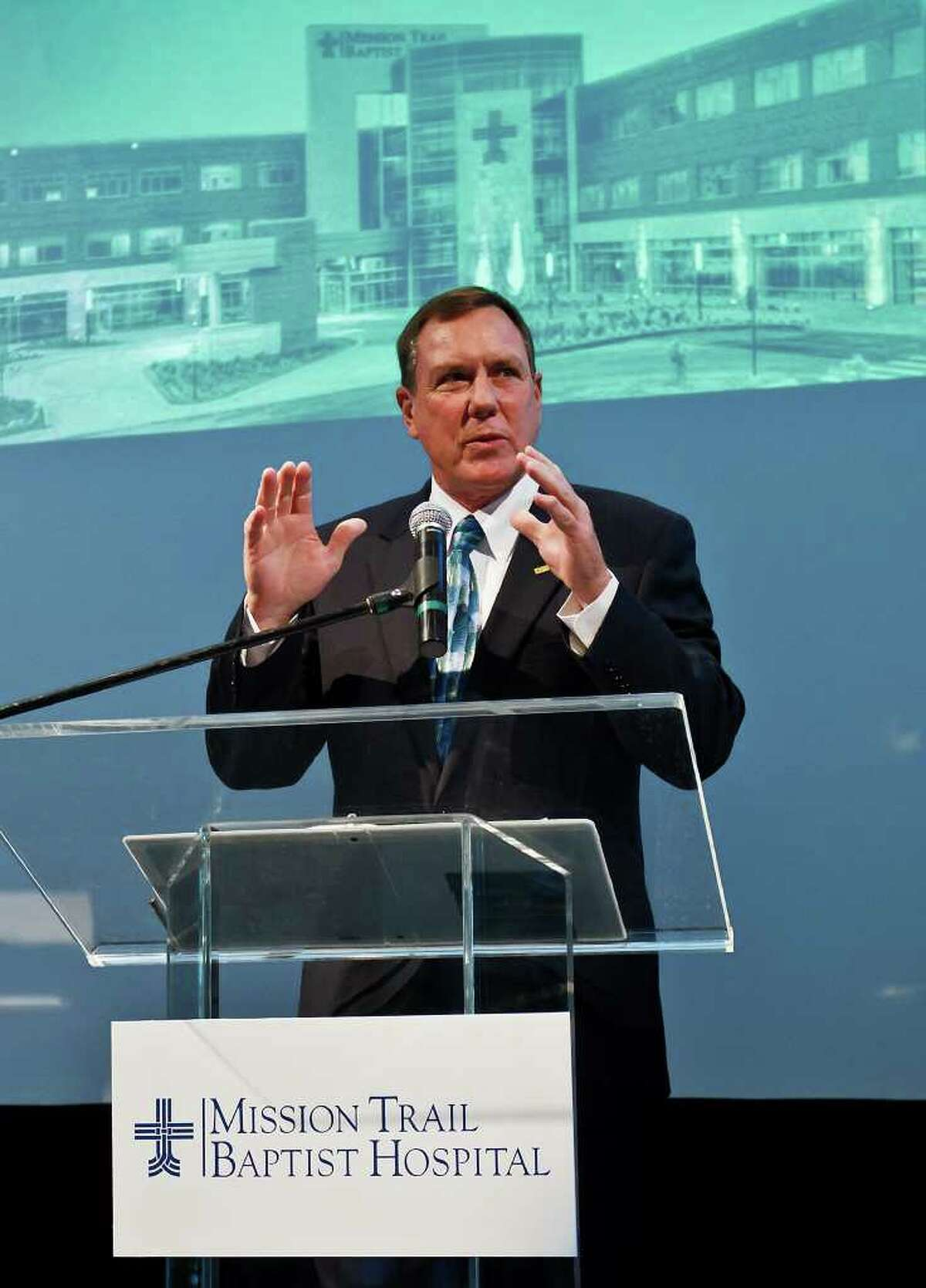Andy Harris, President of Mission Trail Baptist Hospital, addresses the audience during a preview celebration at the hospital last week. The new hospital opened Monday.