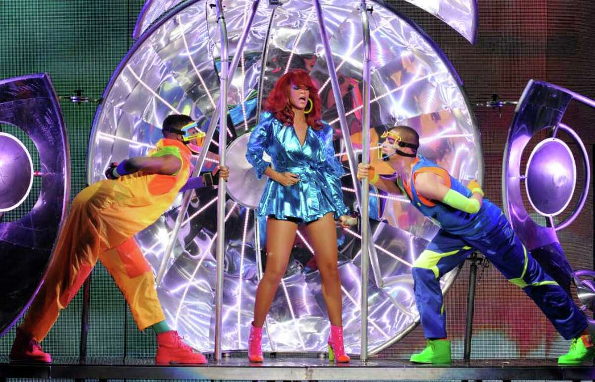 Singer Rihanna performs at the Staples Center in Los Angeles, California.