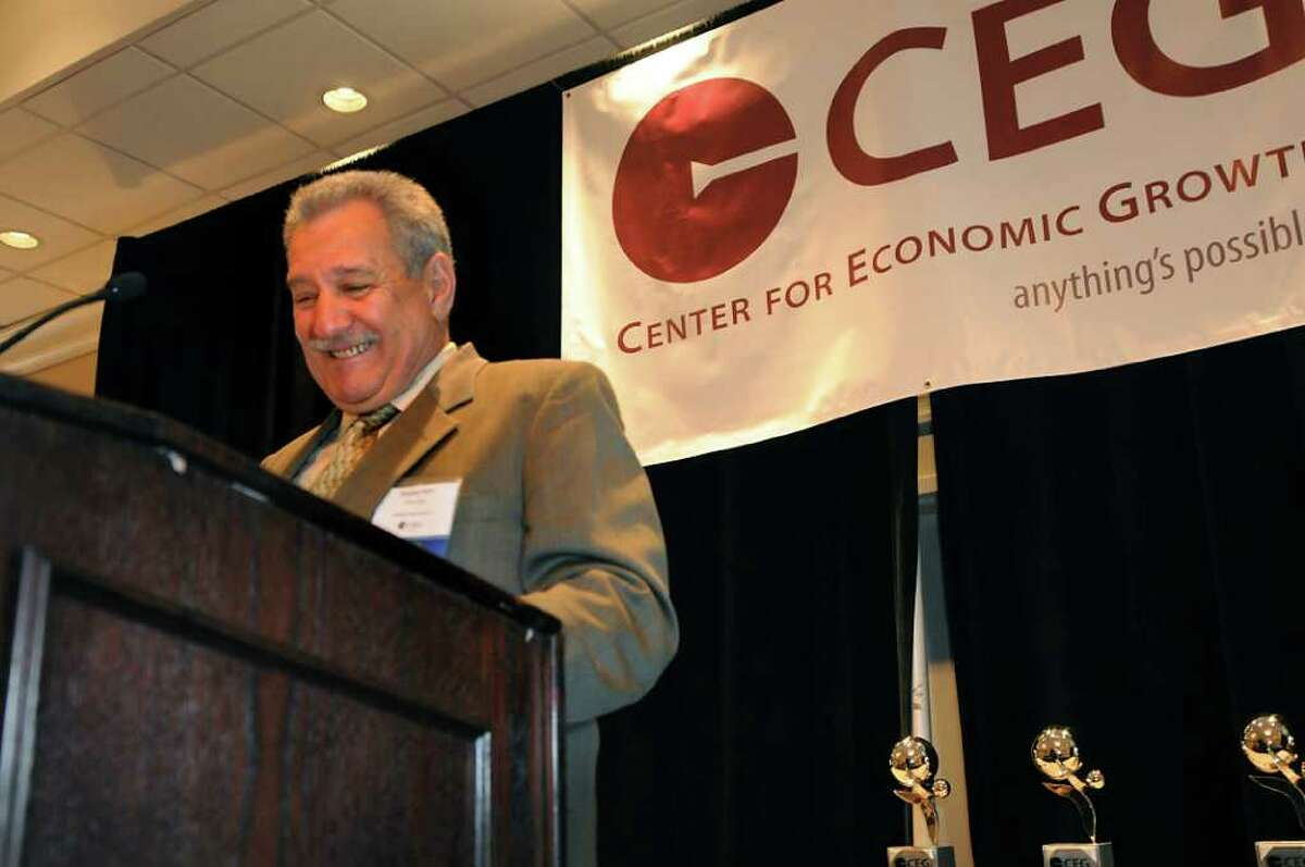Stephen J. Petti speaks after accepting the award for Technology Entrepreneur during the 15th Annual Center for Economic Growth Technology Awards on Wednesday, June 29, 2011, at the Crown Plaza in Albany, N.Y. (Cindy Schultz / Times Union)