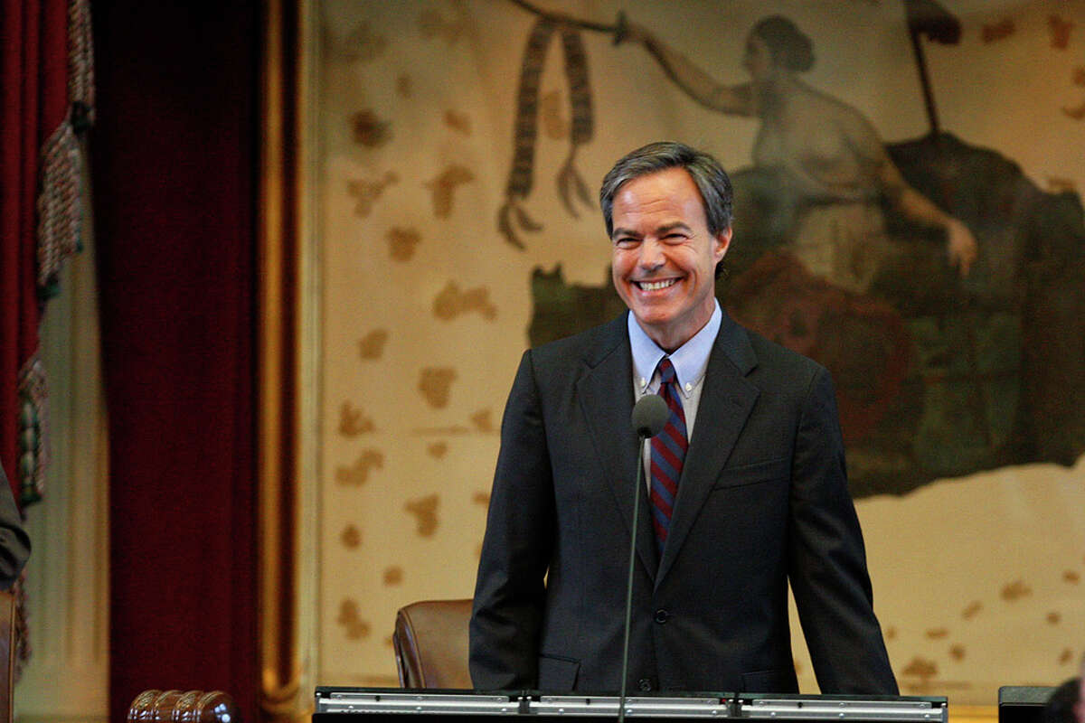 Texas House Speaker Joe Straus (R-San Antonio) smiles as the last minutes tick off ending the 82nd Legislative Session at the state Capitol in Austin on June 29, 2011. The session extended into an emergency session called by Gov. Rick Perry.