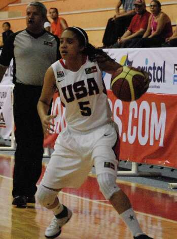 Recee' Caldwell, a 5-foot-8 point guard shown against Puerto Rico, was the youngest on Team USA at the tournament this month in Merida, Mexico. Photo: Courtesy Photo