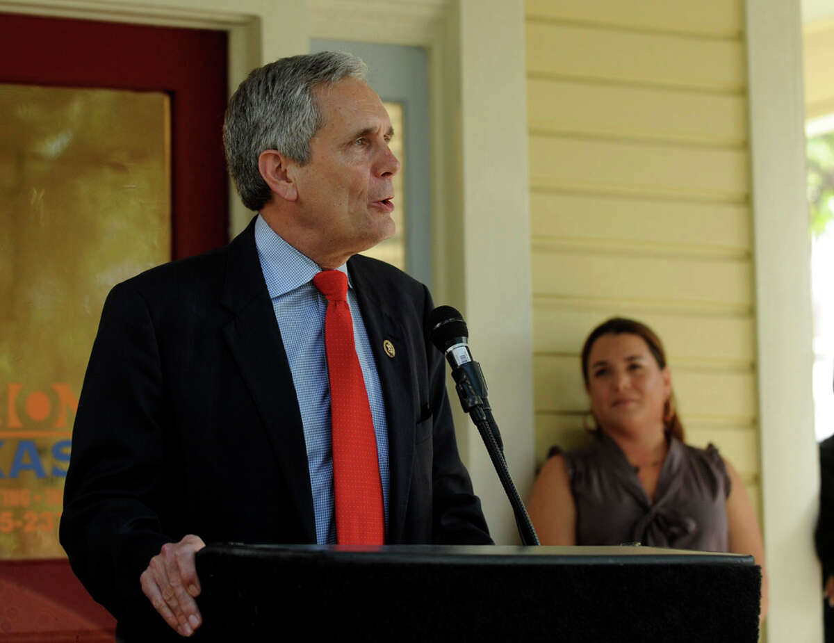 Texas Rep. Lloyd Doggett speaks during the opening of the new Accion Texas-Louisiana campus on June 28, 2011.