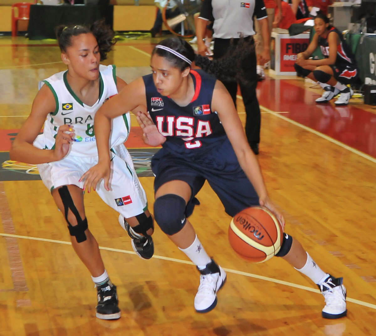 Recee' Caldwell, a 5-foot-8 point guard shown against Brazil, was the youngest on Team USA at the tournament this month in Merida, Mexico.