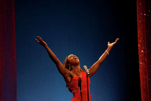 Miss Collegiate San Antonio Selina Affram sings as she competes in the talent portion during the second night of the Miss Texas Pageant preliminary competition at Texas Hall on the campus of the University of Texas at Arlington on June 29, 2011. Photo: Lisa Krantz, Lisa Krantz / Lkrantz@express-news.net / lkrantz@express-news.net