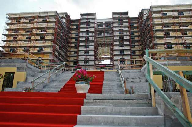 Steps leading to the Hotel Elian, a 165-room hotel currently under construction in the new Eilan development on June 21, 2011.  Photo by Marvin Pfeiffer Photo: Marvin Pfeiffer/Prime Time Newspapers