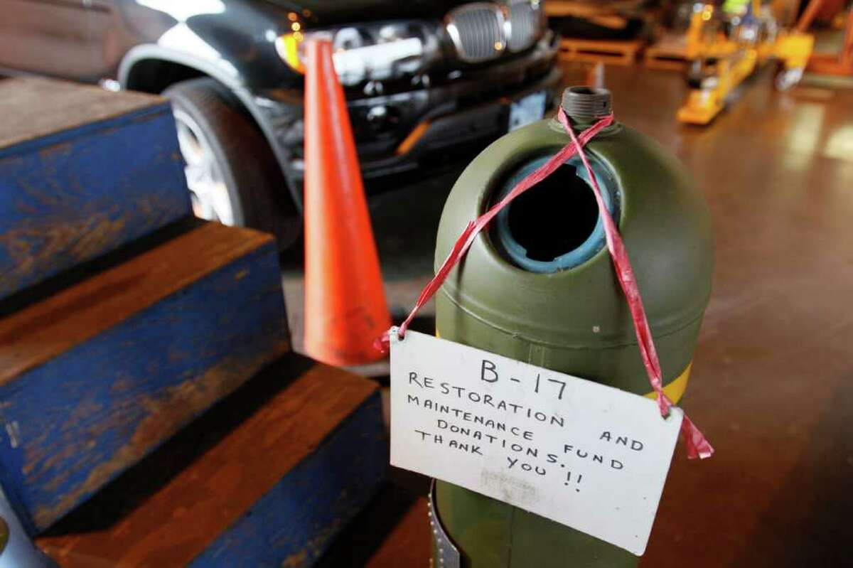 A bomb converted to accept donations, on Thursday, June 30, 2011 in a hangar at Boeing Field, in Seattle.