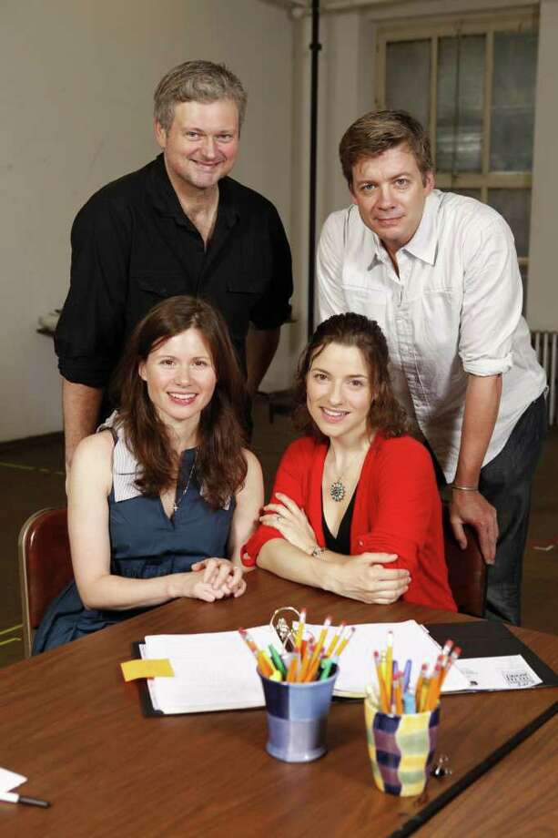"Westport Country Playhouse's ""Lips Together, Teeth Apart,"" now in rehearsal, features, from left, seated, Maggie Lacey, Jenn Gambatese; standing, John Ellison Conlee and Chris Henry Coffey. Photo: Contributed Photo/Carol Rosegg"