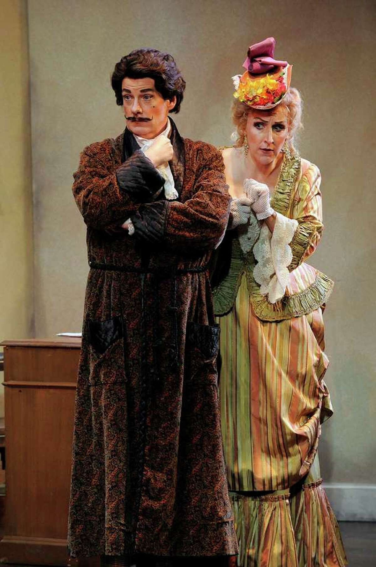 """John Easterlin as Alfred & Emily Pulley as Rosalinda in Opera Saratoga's production of Strauss' """"Die Fledermaus,"""" part of the summer 2011 season that runs from June 29 to July 10 at the Spa Little Theater in the Spa State Park in Saratoga Springs. (Gary Gold)"""