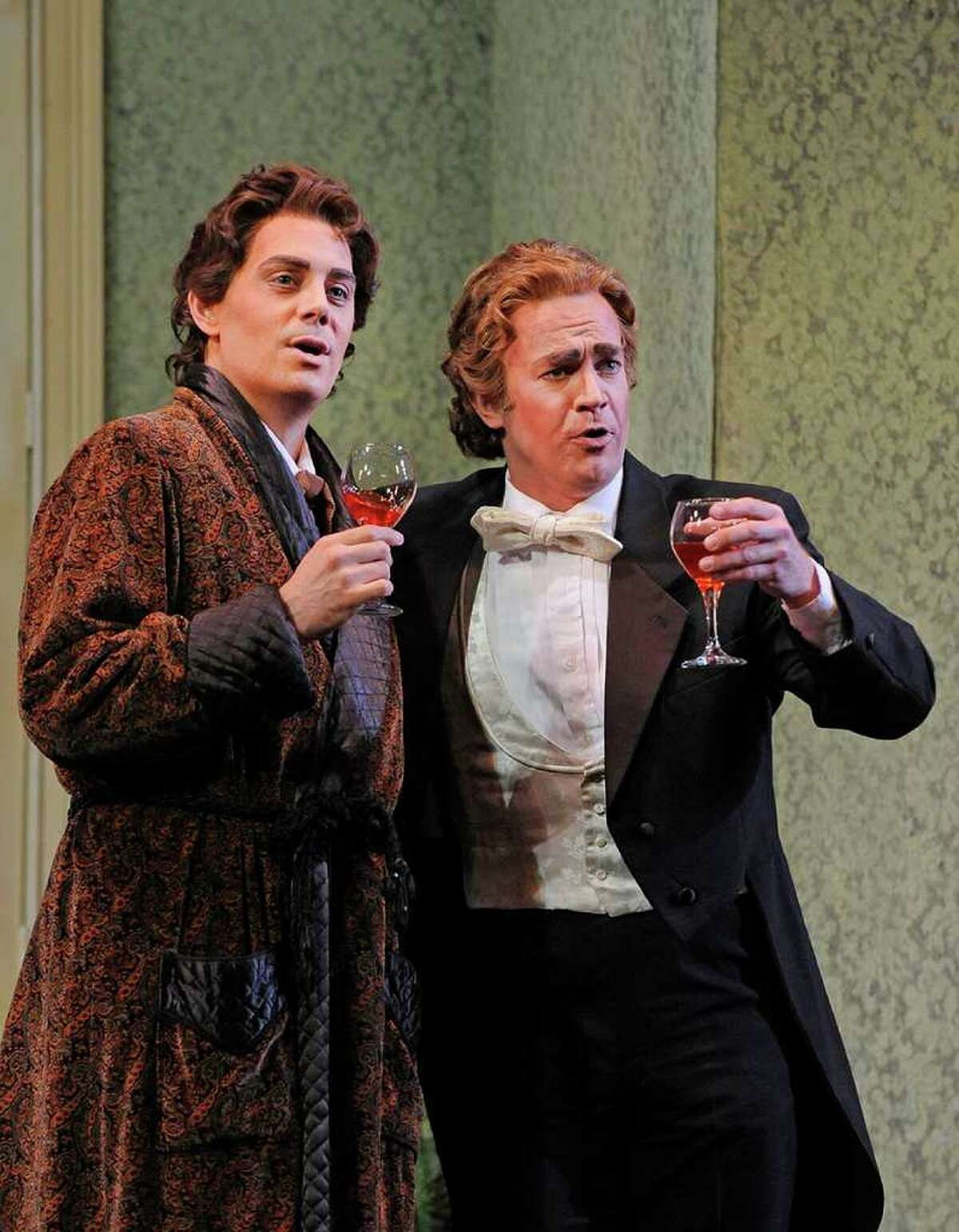 Kyle Pfortmiller as Gabriel von Eisenstein and Curt Olds as Dr. Falke in Opera Saratoga's production of Strauss'