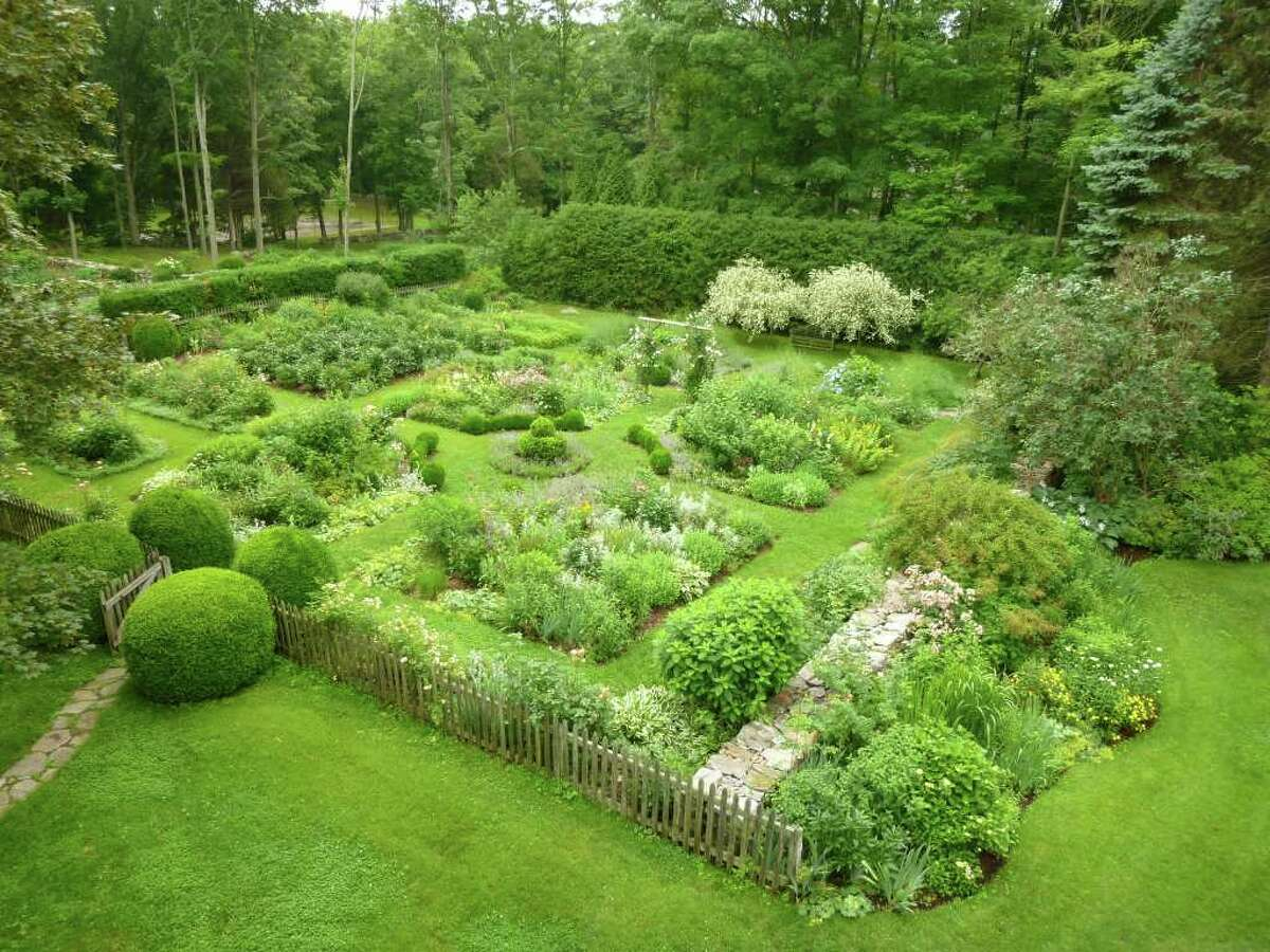 An overhead view of the kitchen garden at Tom and Nancy Grant's Redding Road property, a winner in this year's Pride in Our Homes contest sponsored by the Greater Fairfield Board of Realtors.