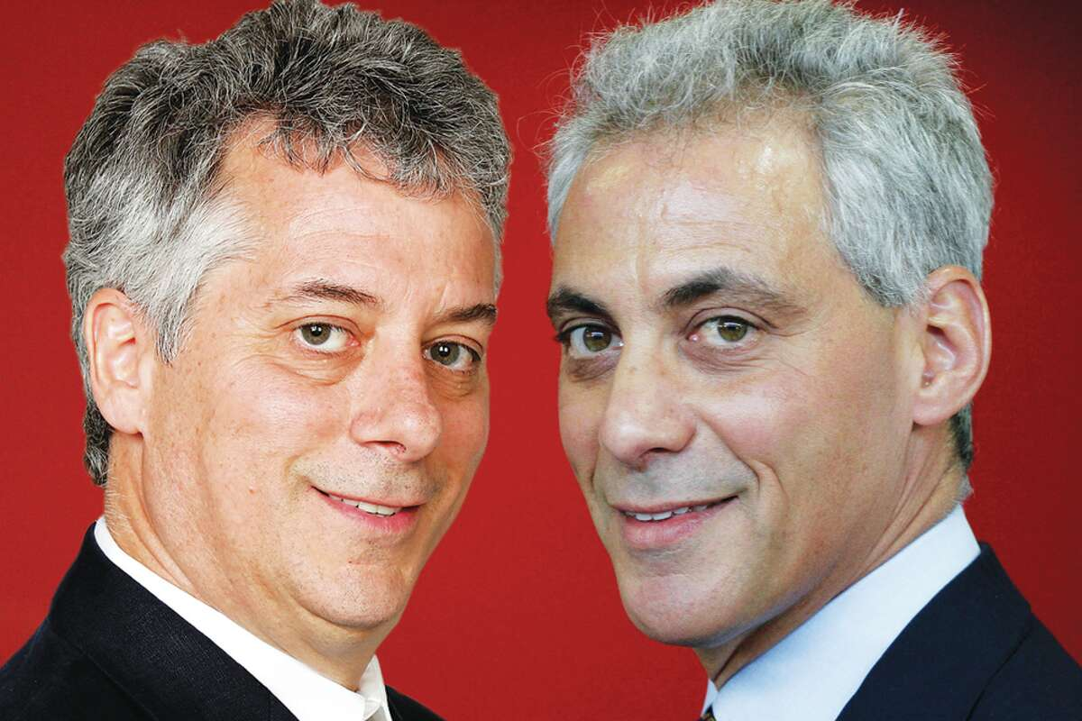 Richard A. Marini (left) and Chicago Mayor Rahm Emanuel. The journalist is