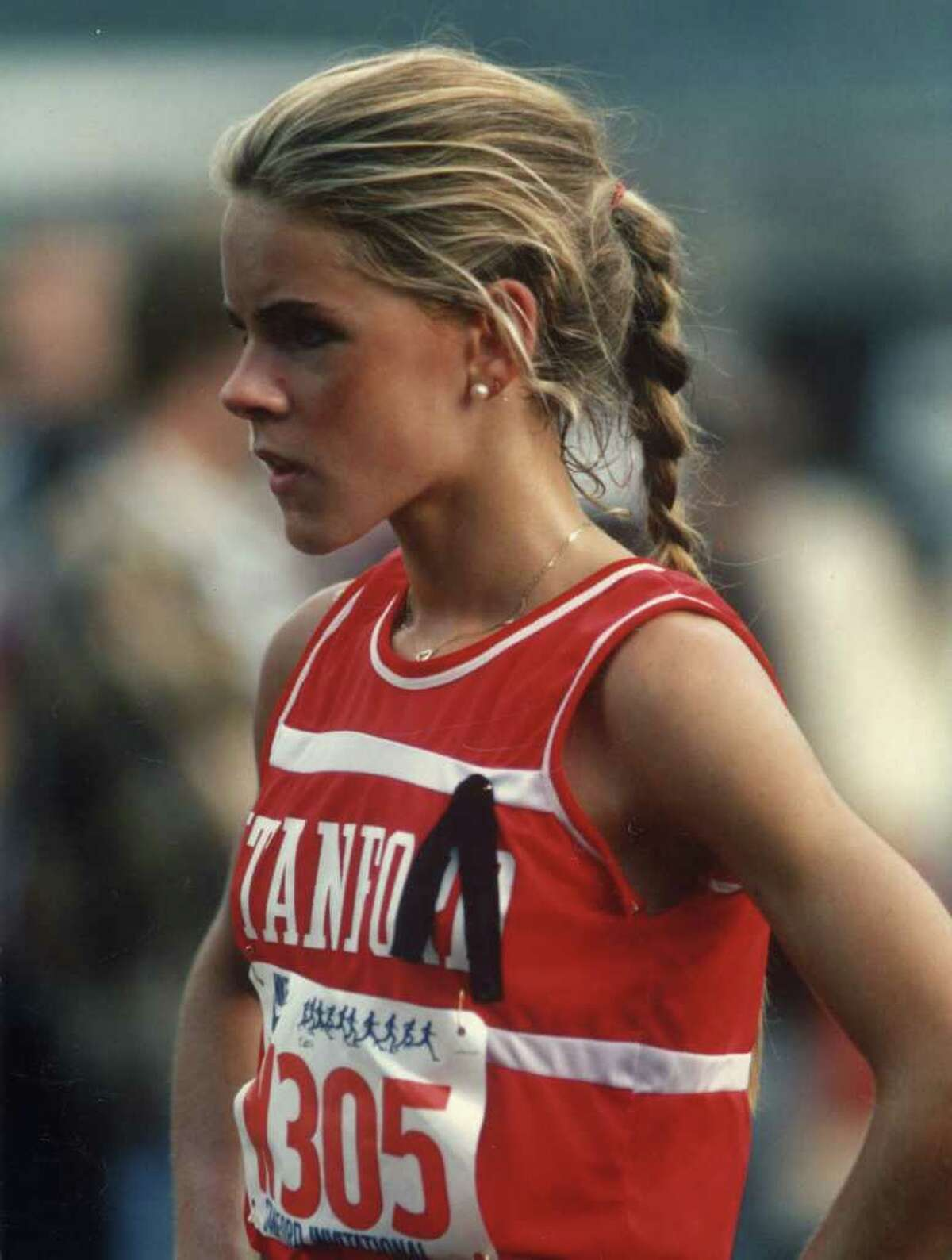 Greenwich High School graduate Ceci Hopp St. Geme, shown here at Stanford University, was one of six new members selected to be inducted into the Fairfield County Sports Hall of Fame. St. Geme, who broke four FCIAC and two state records during her cross country and track and field career at Greenwich High, gained national prominence when she won the Kinney (now Foot Locker) National Cross Country Championship in 1980. The standout runner, who won the NCAA title in the 3,000-meter run as a junior at Stanford University, will be honored during an induction ceremony at the commission's seventh annual sports awards dinner on Oct. 17 at the Hyatt Regency Greenwich.