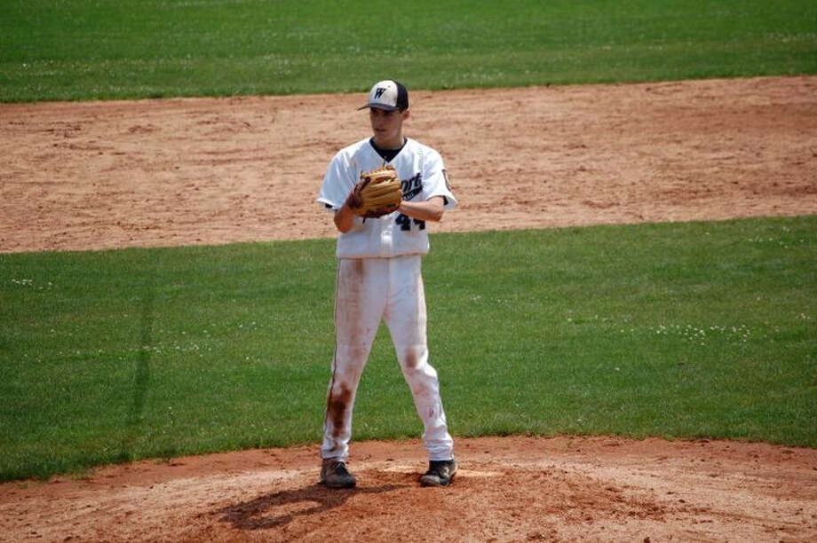 Westport Junior Legion Jarrett Goodness pitched five innings and struck out six in a 16-0 win over Bridgeport Thursday. Goodness was the winning pitcher. Photo: Contributed Photo