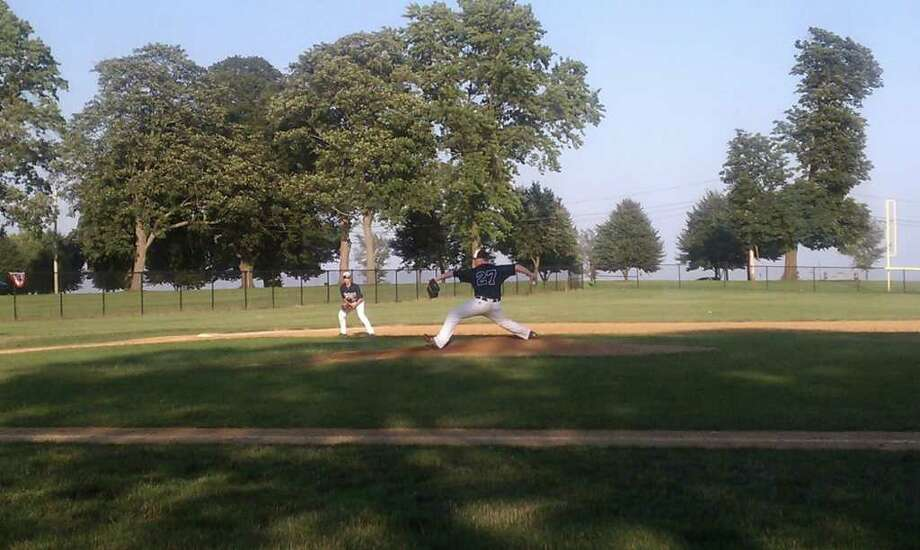 Westport Senior Legion righty Alex Bauer prepares to throw a pitch against Thursday. Bauer pitched five innings and gave up four runs, only two earned in a 7-4 loss. He left with the game tied and was credited with a no-decision. Photo: Contributed Photo