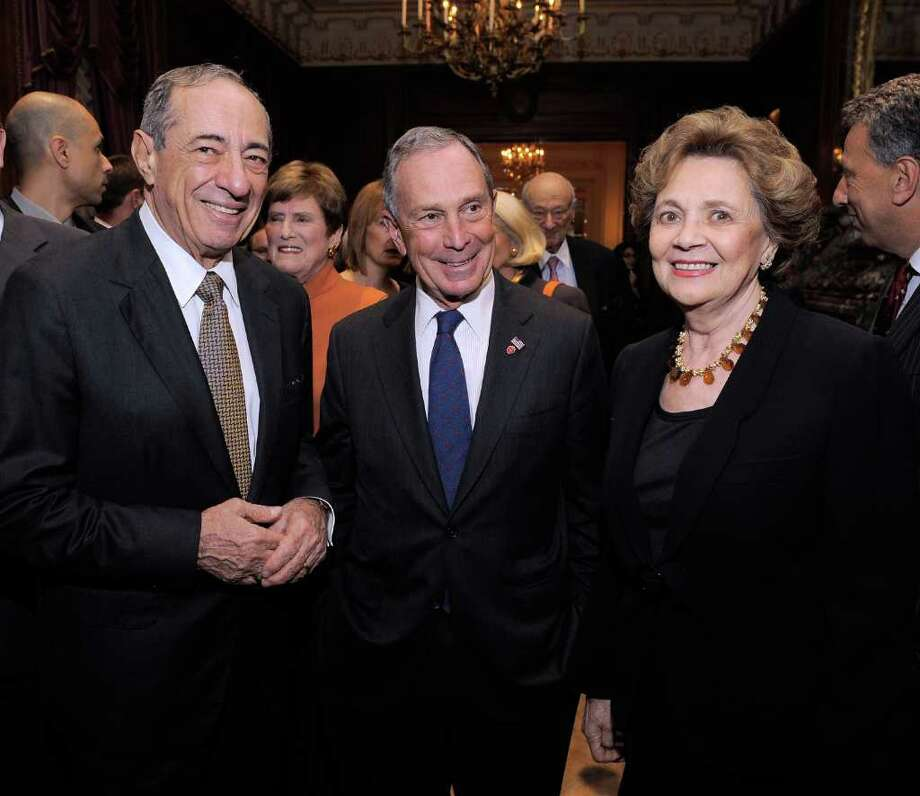 NEW YORK - NOVEMBER 18:  Former Governor of New York Mario Cuomo, New York City Mayor Michael R. Bloomberg and Matilda Raffa attend the celebration of Ed Koch's 85th Birthday and 20th Anniversary at Brian Cave LLP at the St. Regis Hotel on November 18, 2009 in New York City. Photo: Jemal Countess, Getty Images For Bryan Cave LLP / Getty Images North America