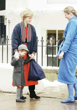 Prince Williams holding the hands of his mother, Diana the Princess of Wales, is greeted by Headmistress, Miss Frederica Blair-Turner on his arrival for the first day at his new school, Wetherby School, a pre-prop for boys, in Penbridge Square, London on Jan. 15, 1987, a short drive from his home in Kensington Palace. (AP Photo) Photo: Anonymous, STF