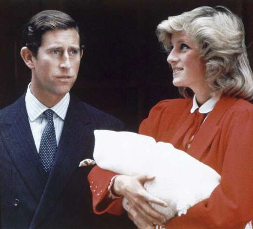Prince Charles and Princess Diana leave St. Mary's Hospital in London, with Prince Henry on September 16, 1984. (AP Photo) Photo: Anonymous, STF