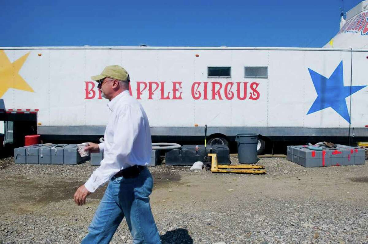 Guillaume Dufresnoy, artistic director of the Big Apple Circus, spends a morning on the property in Stamford, Conn. on Thursday June 30, 2011.