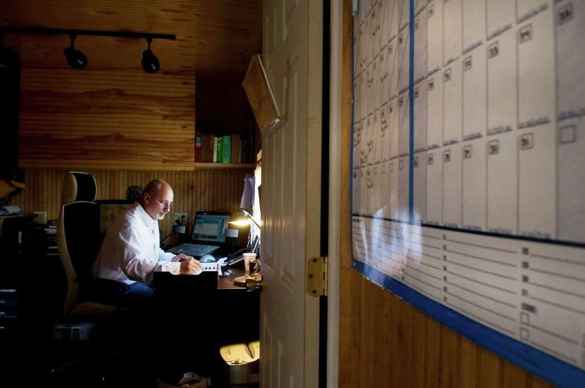 Guillaume Dufresnoy, artistic director of the Big Apple Circus, works in his office in a trailer on the property in Stamford, Conn. on Thursday June 30, 2011.
