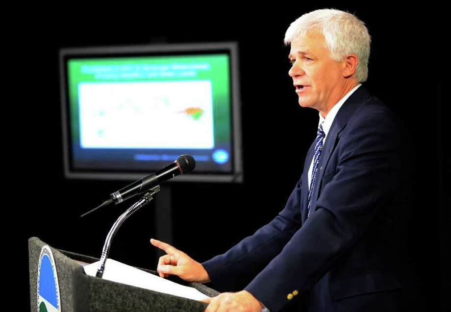 State Environmental Conservation Commissioner Joe Martens discusses his department's review of the high-volume hydraulic fracturing process used in the natural gas drilling industry at a press briefing in Albany, N.Y., on July 1, 2011.          (Skip Dickstein / Times Union) Photo: SKIP DICKSTEIN / 00013788A
