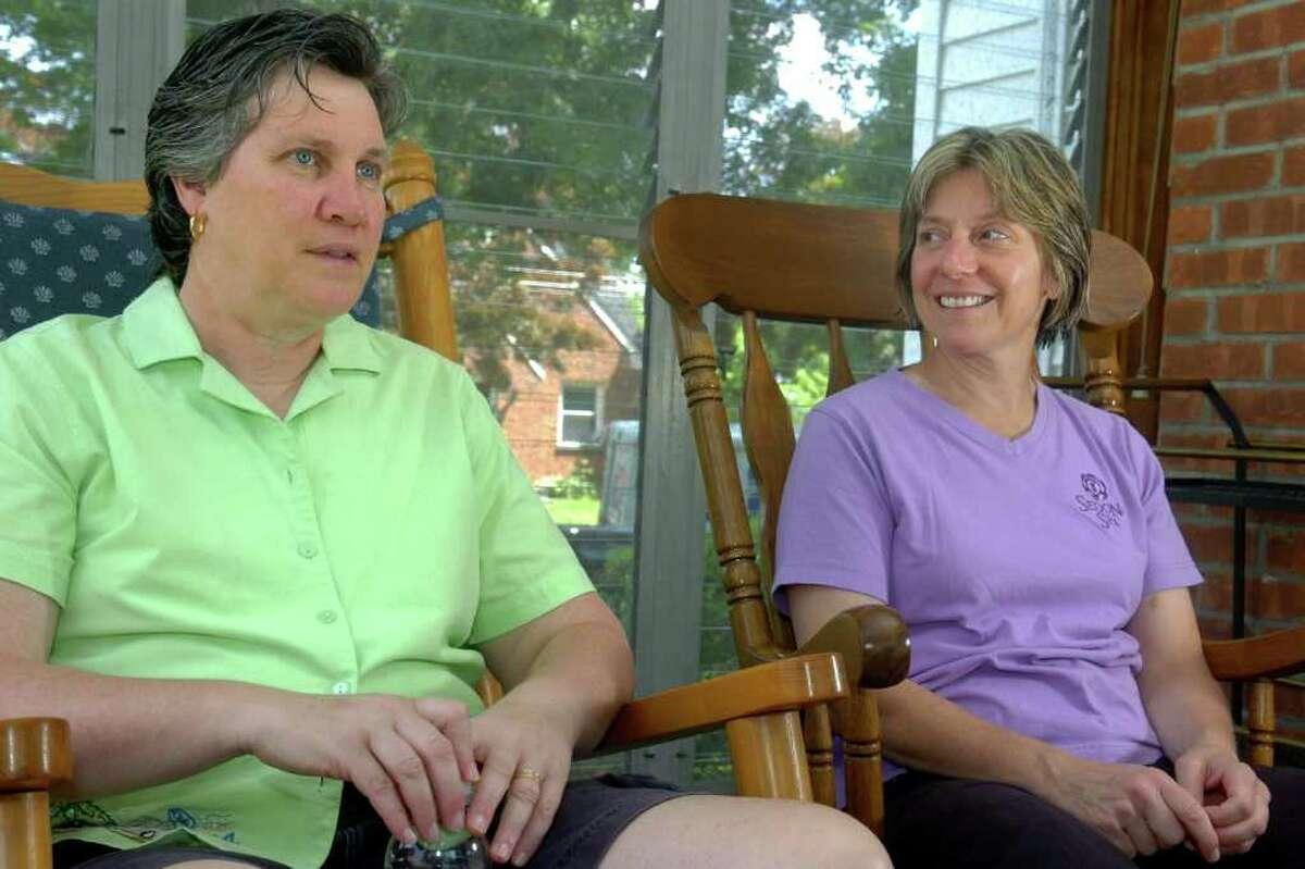 Liz McGovern and Judy Eckert in their Bridgeport, Conn. home June 30th, 2011.