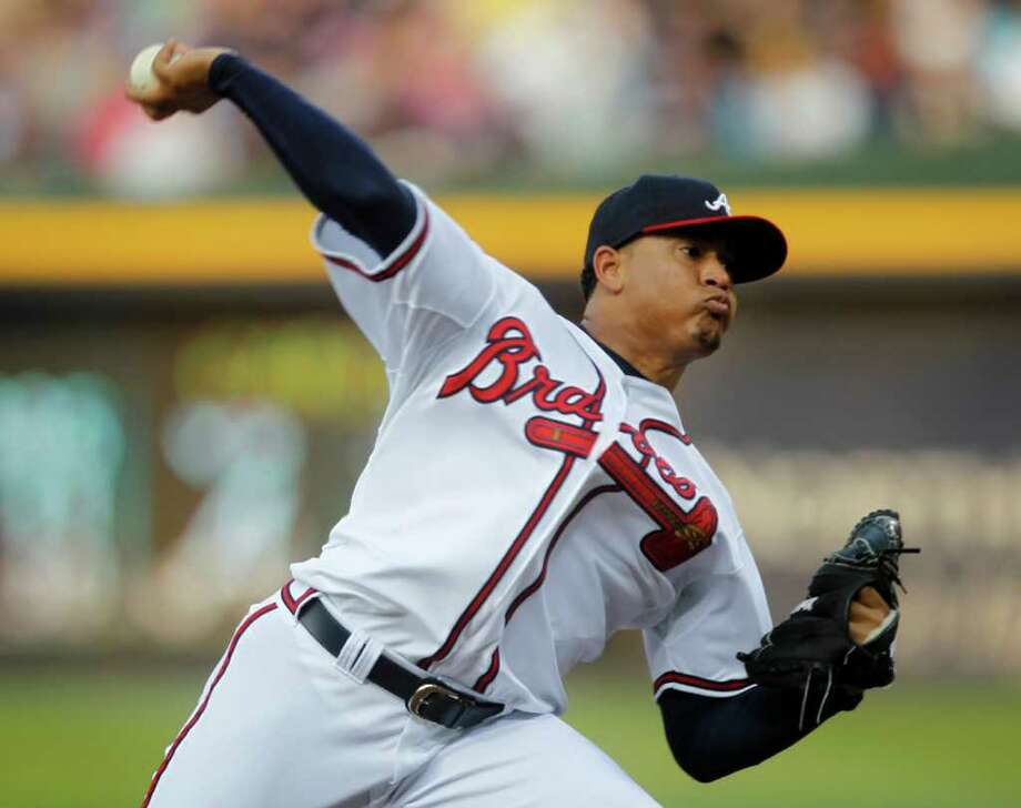 Atlanta Braves starting pitcher Jair Jurrjens works in the first inning of an interleague baseball game against the Baltimore Orioles in Atlanta, Friday, July 1, 2011. Jurrjens earned the complete game victory, allowing no runs on one hit as the Braves defeated the Orioles 4-0.  (AP Photo/John Bazemore) Photo: John Bazemore