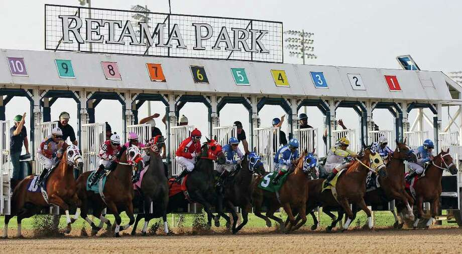 Horses and jockeys leave the gates during a quarter horse maiden claiming $10,000 race on opening night of the 2011 quarter horse meet Friday July 1, 2011 at Retama Park. The quarter horse meet runs through July 28th. The horse Max MM Chrome with jockey Jose Amador Alvarez won the race.  (PHOTO BY EDWARD A. ORNELAS/eaornelas@express-news.net) Photo: EDWARD A. ORNELAS, Edward A. Ornelas/Express-News / © SAN ANTONIO EXPRESS-NEWS (NFS)