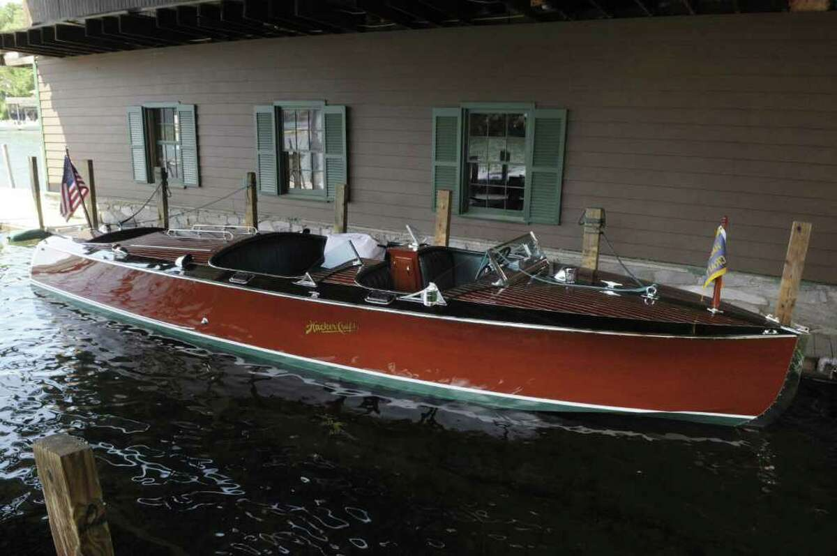 A view of a runabout docked at the Hacker Boat Company on Monday, June 27, 2011 in Silver Bay. Hacker Boat Company is the leading American manufacturer of handcrafted mahogany boats. (Paul Buckowski / Times Union)