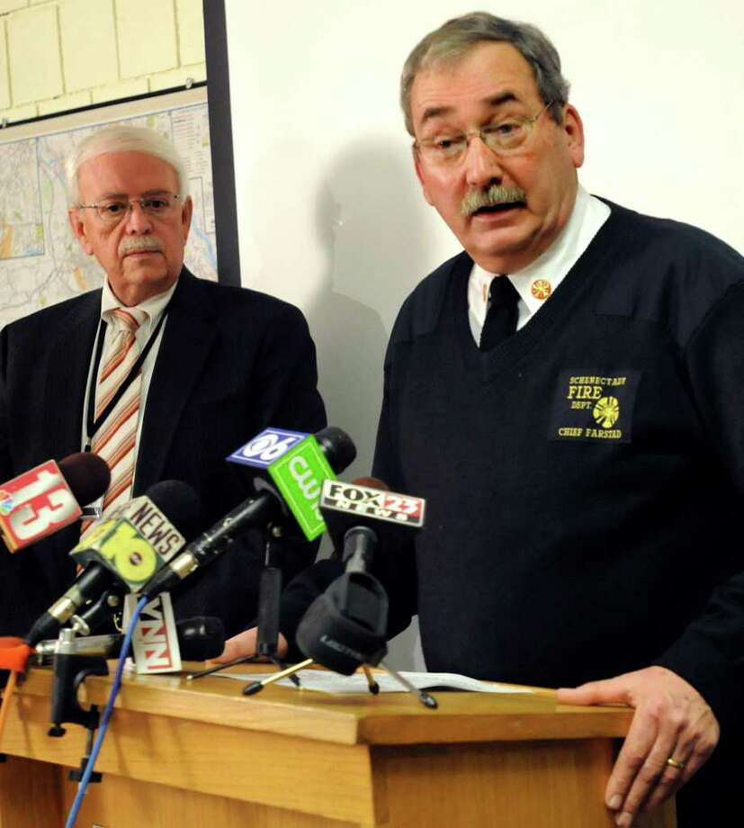 Fire Chief Robert Farstad, right, and Public Safety Commissioner Wayne Bennett at a news conference in January 2011 at the Schenectady Fire Department. (Cindy Schultz / Times Union archive) Photo: Cindy Schultz / 00011655A