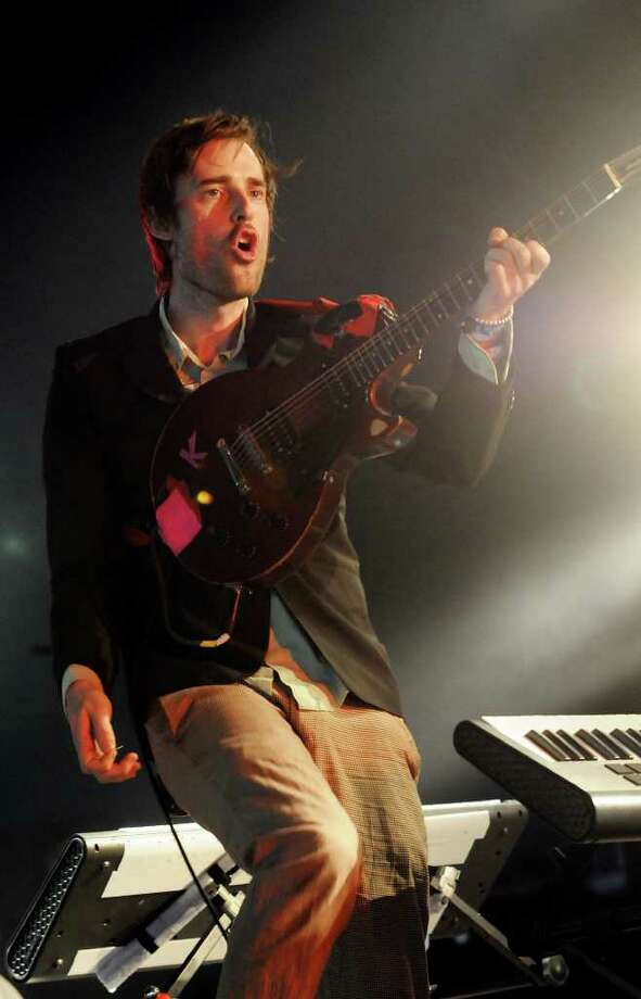 LONDON, ENGLAND - JULY 02:  Ian Williams of Battles performs live on stage during the second day of the Wireless Festival at Hyde Park on July 2, 2011 in London, England. Photo: Jim Dyson, Getty Images / 2011 Getty Images