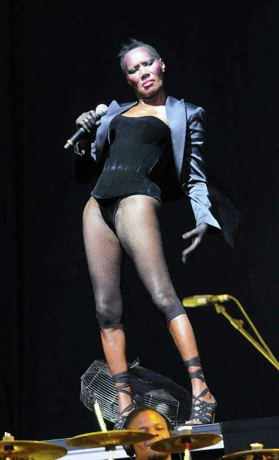 LONDON, ENGLAND - JULY 03:  Grace Jones performs live on stage during the third day of the Wireless Festival at Hyde Park on July 3, 2011 in London, England. Photo: Jim Dyson, Getty Images / 2011 Getty Images