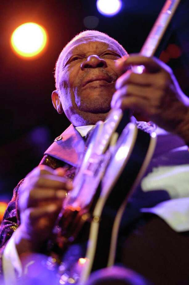 In this photo made available on Sunday, July 3, 2011, legendary US blues guitarist musician BB King performs on the Stravinski Hall stage during the 45th Montreux Jazz Festival, in Montreux, Switzerland, Saturday, July 2, 2011. (AP Photo/Keystone, Laurent Gillieron) GERMANY OUT - AUSTRIA OUT Photo: AP