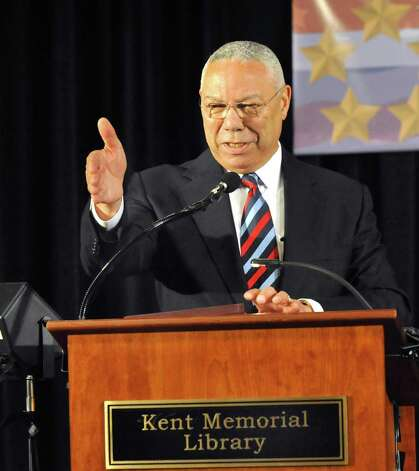 General Colin Powell speaks at the Kent Center School during the Kent Lecture Series at the Library, Sunday, July 3, 2011. Photo: Michael Duffy