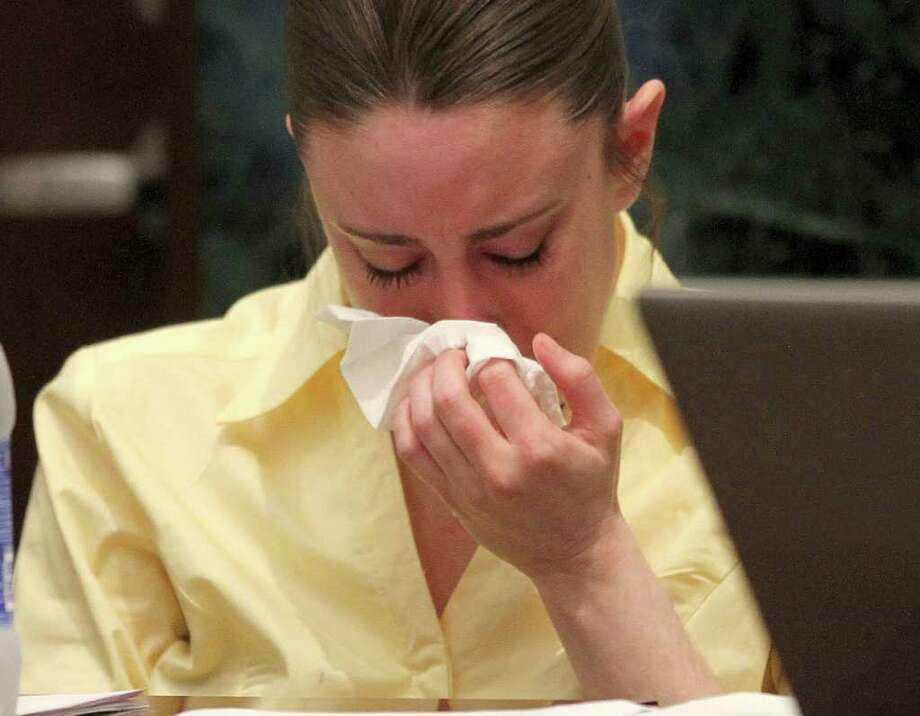 Casey Anthony reacts while listening to the state's closing arguments in her murder trial in Orlando, Fla., Sunday, July 3, 2011. Anthony has plead not guilty to first-degree murder in the death of her daughter, Caylee, and could face the death penalty, if convicted. (AP Photo/Red Huber, Pool) Photo: Red Huber
