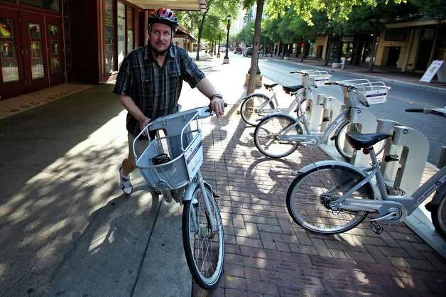 In only three months, Phillip Schrank has logged more than 750 miles using San Antonio's bike-share program, shedding about 45 pounds. He's ond of B-cycle's top users and — like the Subway spokesman he's been compared to — a natural booster.