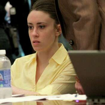 Casey Anthony reacts as the state presents its closing arguments in her murder trial in Orlando, Fla., Sunday, July 3, 2011. Anthony has plead not guilty to first-degree murder in the death of her daughter, Caylee, and could face the death penalty if convicted that charge. (AP Photo/Red Huber, Pool) Photo: Red Huber, POOL / Pool Orlando Sentinel
