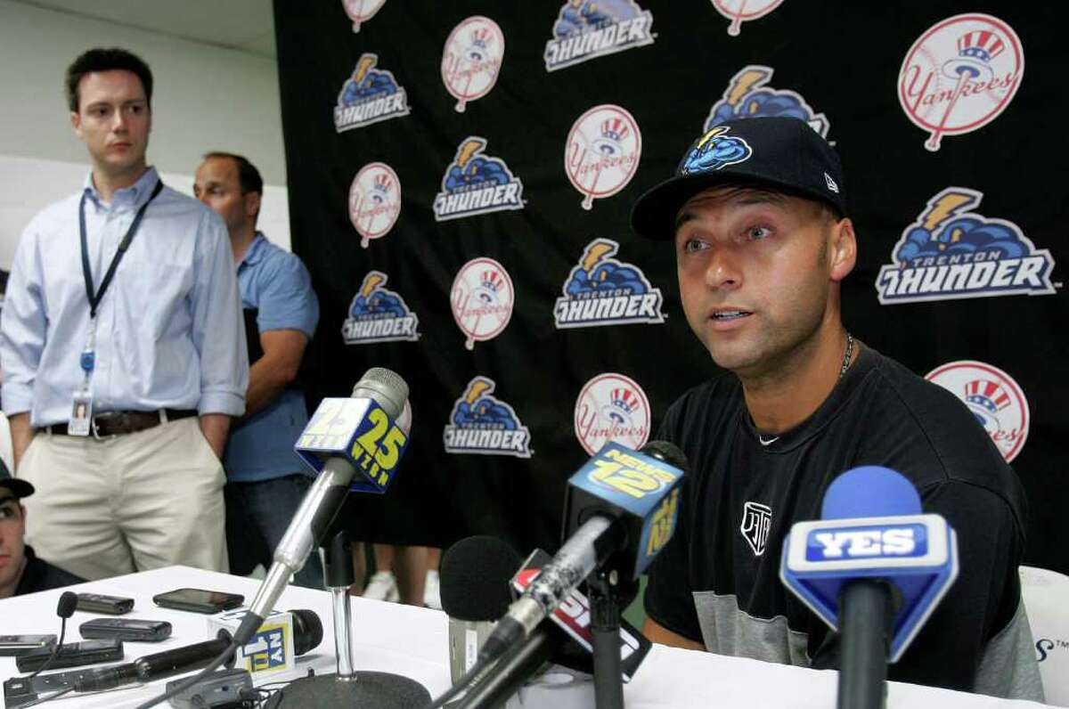 TRENTON, NJ - JULY 2: Derek Jeter of the New York Yankees gives a post-game interview after his minor league rehab start with the Trenton Thunder in a game against the Altoona Curve on July 2, 2011 at Mercer County Waterfront Park in Trenton, New Jersey. Jeter is set to rejoin the Yankees in Cleveland on Monday in his return from a calf injury. (Photo by Rich Schultz/Getty Images)