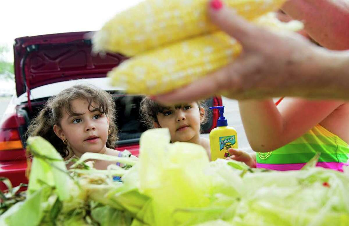 Twins Madison, left, and Mikayla Cruz, 4, watch as corn is prepared for the grill at Cumming Park as they picninc with their family celebrating July 4, 2011.