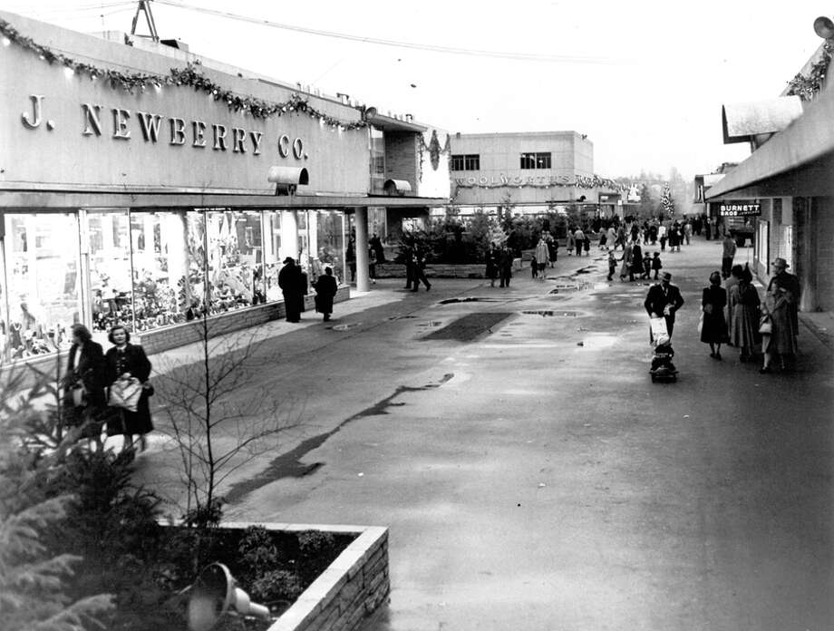 Northgate's first Christmas, 1950. Stores were opened one by one throughout 1950 and the entire shopping center was finished before Christmas. Photo: Seattlepi.com File
